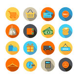 Shopping Icons Flat Design Stock Photography