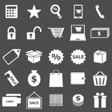 Shopping icons on gray background Royalty Free Stock Photos