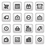 Shopping icons on gray buttons. Vector icons set for websites, guides, booklets Royalty Free Stock Photo