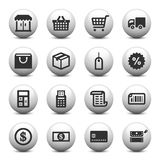 Shopping icons. On gray buttons Stock Photography