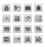 Shopping icons on gray squares Stock Photography
