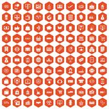 100 shopping icons hexagon orange. 100 shopping icons set in orange hexagon isolated vector illustration Stock Photos