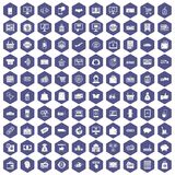100 shopping icons hexagon purple. 100 shopping icons set in purple hexagon isolated vector illustration Royalty Free Stock Image