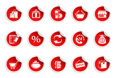 Shopping icons icons | Sticky series. Set of 15 stickers. Shopping icons Royalty Free Stock Images