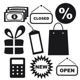 Shopping Icons: Money, Price Tag, Gift Box, Calculator, Package Royalty Free Stock Photography