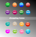 Shopping Icons. For online shops (for sales Vector Illustration