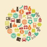 Shopping icons. Over pink background vector illustration Stock Illustration