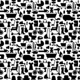 Shopping icons pattern with theme for sale, advertising and design. Stock Photo