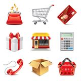 Shopping icons photo-realistic vector set Royalty Free Stock Photo