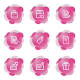 Shopping icons, pink series Stock Photos