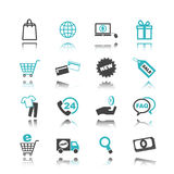 Shopping icons with reflection Stock Photo