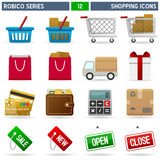 Shopping Icons - Robico Series. Collection of 16 colorful shopping and commerce icons, isolated on white background. Robico Series: check my portfolio for the vector illustration