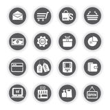 Shopping icons, round buttons. Set of 16 shopping icons, round buttons vector illustration