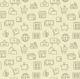 Shopping icons, seamless background pattern. Thin line shopping icons, seamless background pattern Royalty Free Stock Photos