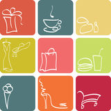 Shopping icons set Royalty Free Stock Photos
