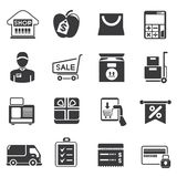 Shopping icons. Set of 16 shopping icons royalty free illustration