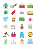 Shopping icons set. Set of 24 shopping icons Royalty Free Stock Image