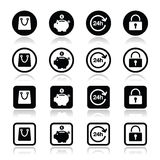 Shopping icons set - account, save, 24h, shopping bag Stock Image