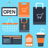 Shopping icons set basket bag label tag purse Royalty Free Stock Photography