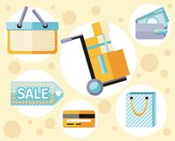 Shopping icons set. With basket, bag, purse in flat design style. Delivery concept Stock Images