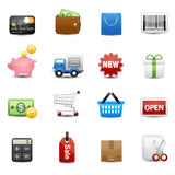 Shopping icons set. Basket money wallet icon set delivery Royalty Free Stock Photography