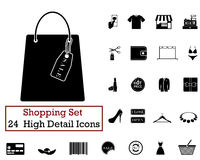 24 Shopping icons. Set of 24 Shopping icons in Black Color Stock Photography