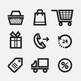 Shopping Icons. Set of black shopping icons, isolated on white background Stock Photo