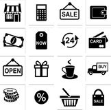 Shopping icons. Set of shopping icons in black and white  style Stock Photo