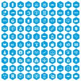 100 shopping icons set blue. 100 shopping icons set in blue hexagon isolated vector illustration royalty free illustration