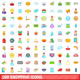 100 shopping icons set, cartoon style. 100 shopping icons set in cartoon style for any design vector illustration Stock Images