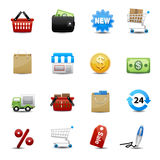 Shopping icons set. Coin cart store supermarket services Stock Photography