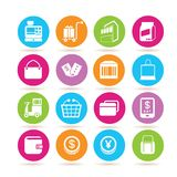 Shopping icons. Set of 16 shopping icons in colorful buttons Stock Images