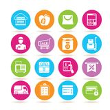 Shopping icons. Set of 16 shopping icons in colorful buttons stock illustration
