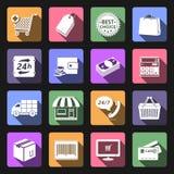 Shopping icons set. Flat design Stock Photo