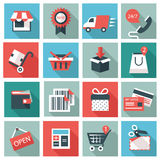 Shopping icons. Set of 16 Shopping icons. Flat design royalty free illustration