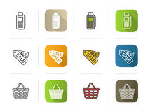 Shopping icons set. Flat design, linear and color styles. Card terminal, sale tags, basket. Stock Photo