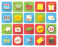 Shopping icons. Set (flat design with long shadows Royalty Free Stock Images