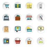 Shopping icons set, flat style. Shopping icons set. Flat illustration of 16 shopping icons for web Stock Illustration