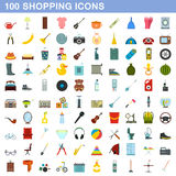 100 shopping icons set, flat style Royalty Free Stock Photo