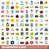 100 shopping icons set, flat style. 100 shopping icons set in flat style for any design vector illustration Stock Image
