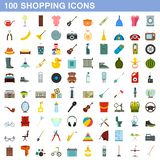 100 shopping icons set, flat style. 100 shopping icons set in flat style for any design illustration vector illustration