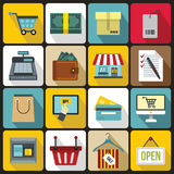 Shopping icons set, flat style Stock Images