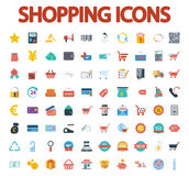 Shopping icons set. Flat vector related icon set for web and mobile applications. It can be used as - logo, pictogram, icon, infographic element. Vector Royalty Free Stock Photos