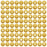 100 shopping icons set gold. 100 shopping icons set in gold circle isolated on white vector illustration Stock Photography