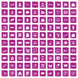 100 shopping icons set grunge pink. 100 shopping icons set in grunge style pink color isolated on white background vector illustration Vector Illustration