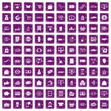 100 shopping icons set grunge purple. 100 shopping icons set in grunge style purple color isolated on white background vector illustration Stock Photography