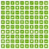 100 shopping icons set grunge green. 100 shopping icons set in grunge style green color isolated on white background vector illustration Royalty Free Stock Photography