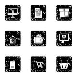 Shopping icons set, grunge style Royalty Free Stock Images