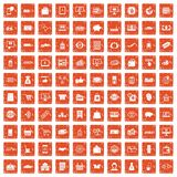 100 shopping icons set grunge orange. 100 shopping icons set in grunge style orange color isolated on white background vector illustration Stock Image