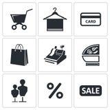 Shopping icons set Stock Photos